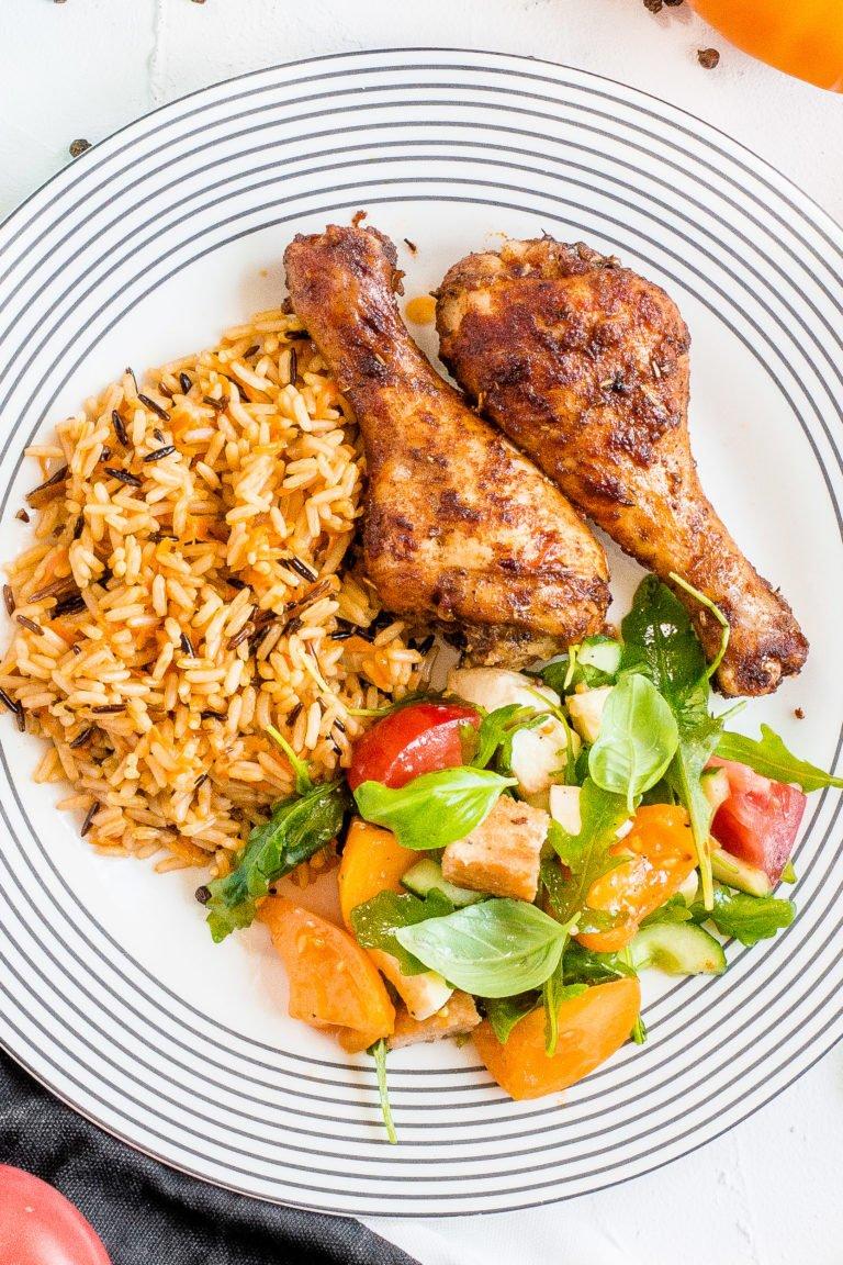 Pieczone podudzia z kurczaka z pomarańczowym ryżem