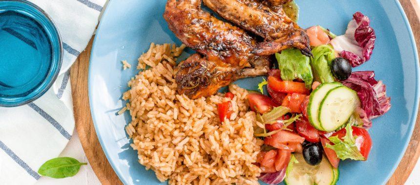 Aromatyczne skrzydełka z kurczaka z pikantnym ryżem